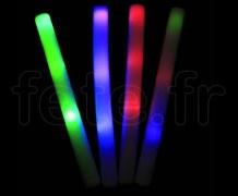 BATON en MOUSSE - Lumineux à 3 LED - Fixe et Flash - 48cm x 4cm - 3 Piles AG13 Fournies BLANC