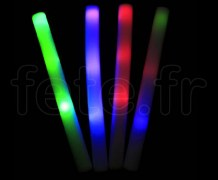 BATON en MOUSSE - Lumineux à 3 LED - Fixe et Flash - 48cm x 4cm - 3 Piles AG13 Fournies BLEU