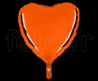 Ballon - Mylar - Coeur - Brillant - Uni - 45cm ORANGE