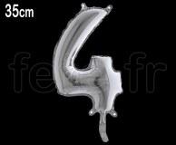 Ballon - Métal - Argent - Chiffre - H 35cm 4