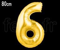 Ballon - Mylar - Or- Chiffre - H 80cm 6