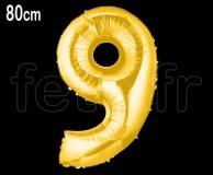 Ballon - Mylar - Or- Chiffre - H 80cm 9