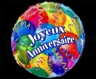 Ballon JOYEUX_ANNIVERSAIRE - Mylar - Rond - Déco - Ø 45cm