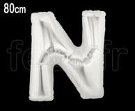 Ballon - Mylar_Argent - Lettre - H 80cm N