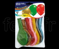 12 Ballons - Latex - Fantaisie - Ø24cm METALLISE