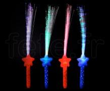 FOUET - Fibre Optique - LED - Rainbow - Piles Fournies ÉTOILE