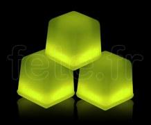 Glacon - Cube - Fluo - 3 X 3 X 3cm - JAUNE