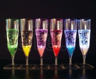 10 FLUTES à CHAMPAGNE - Lumineuses LED - ROUGE