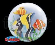Ballon - Bubble - Double - Sphérique - 61cm POISSON-TROPICAL