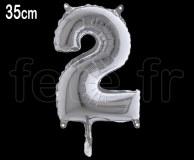 Ballon - Métal - Argent - Chiffre - H 35cm 2