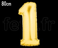 Ballon - Mylar - Or- Chiffre - H 80cm 1