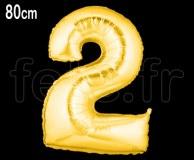 Ballon - Mylar - Or- Chiffre - H 80cm 2