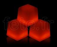 Glacon - Cube - Fluo - 3 X 3 X 3cm - ROUGE