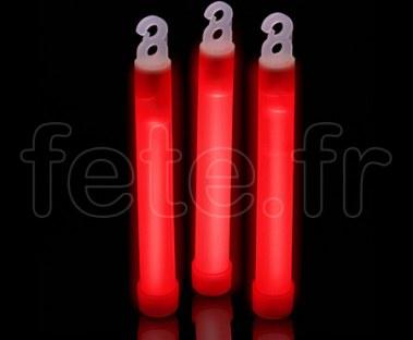 25 GLOWSTICK - Batonnet - Fluo - 15cm 15mm - avec Crochet -