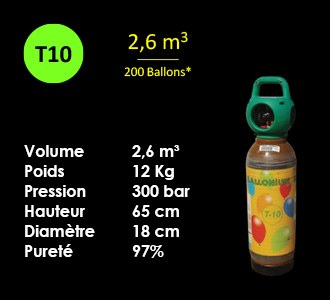 Bouteille Helium T10 - 2.6m3